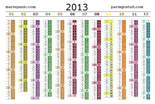 calendrier 2013 jours feries